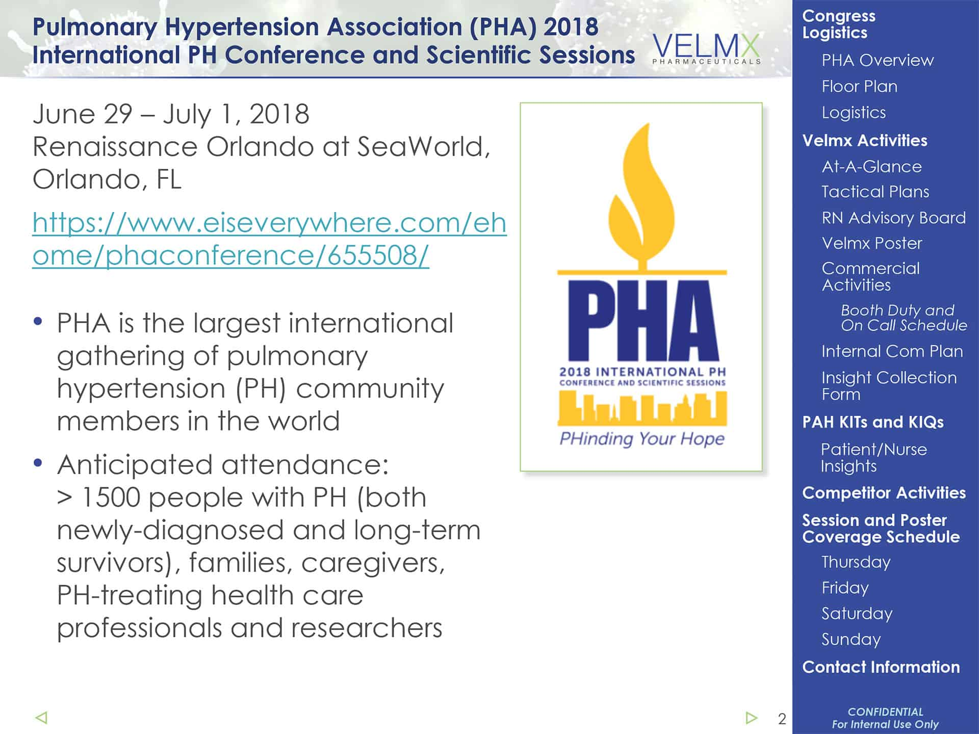 PHA's International PH Conference and scientific june 29 - july 1